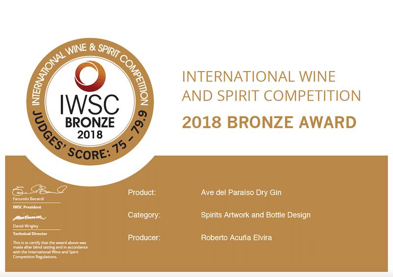 Ave del Paraíso consiguió una nueva medalla en el concurso International Wine & Spirits Competition. Esta vez por el diseño del logo y de la botella.